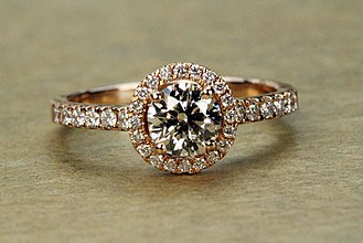 Colored gold - Rose gold diamond engagement ring