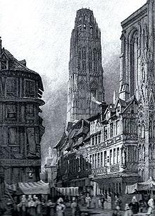 La naissance de la charpenterie dans ARTISANAT FRANCAIS 220px-Rouen_cathedral_c1830