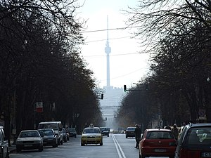 Rousse TV Tower - The Rousse TV Tower as seen from the city