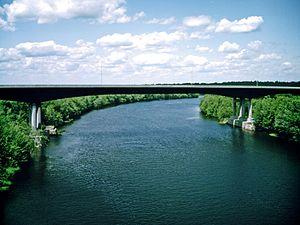 Jemseg, New Brunswick - Image: Route 1 bridge Jemseg