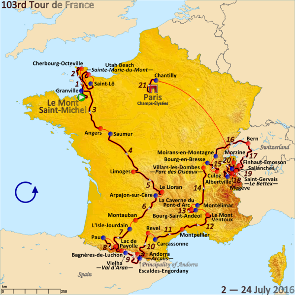 Fitxategi:Route of the 2016 Tour de France.png