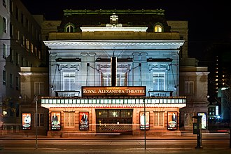 Toronto is the world's third largest centre for English-language theatre, home to venues like the Royal Alexandra Theatre, the oldest continuously operating theatre in North America. Royal Alex 2009.jpg