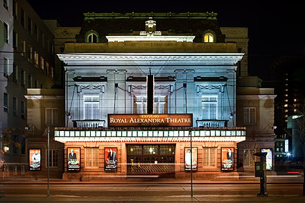 Toronto is the third largest centre for English-language theatre, home to venues like the Royal Alexandra Theatre, the oldest continuously operating theatre in North America. Royal Alex 2009.jpg