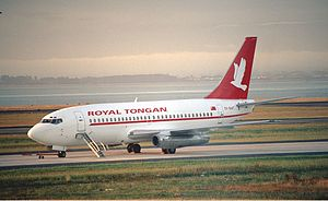 Royal Tongan Airlines - Royal Tongan Boeing 737-200 at Auckland Airport (2000).