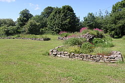Low stone walls in grass, surrounded by trees with a house in the distance.