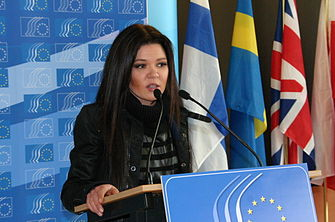 Ruslana giving a speech in Brussels - 2.JPG