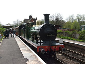 SECR C class - C class 592 at Kingscote Station in April 2009.