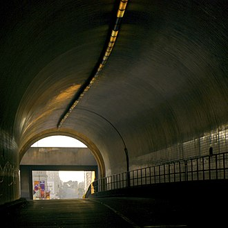 Broadway Tunnel (San Francisco) - Western portal, from inside the north tunnel, facing west