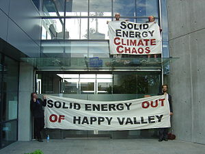 Save Happy Valley Coalition - A protest action carried out by SHVC at the head office of Solid Energy in 2005.