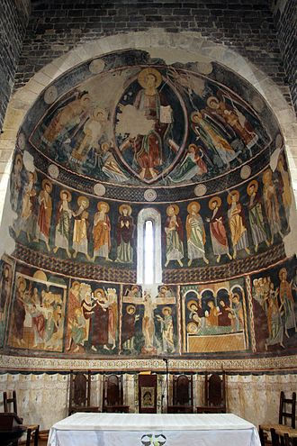 12th century frescoes in the Basilica di Saccargia in Codrongianos Saccargia, interno, ciclo del xiii sec. 02.JPG