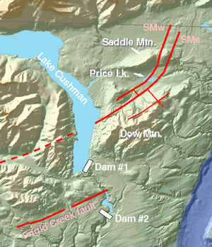 Puget Sound faults - In red: Saddle Mountain faults (west and east) extension to the southwest inferred from aeromagnetic and LIDAR evidence, Dow Mountain fault (offset by SM east), and Frigid Creek fault.