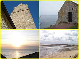 The village is between salt marshes and the sea located opposite the Channel Islands