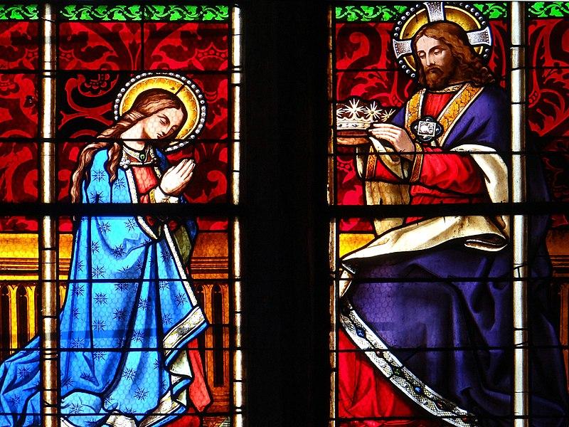 Holy Cross Church - Saint-Pourçain-sur-Sioule, Allier, France. (inside). Stained