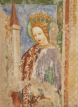 Slika:Saint Barbara (National Gallery of Slovenia, copy of church fresco from 1453).jpg
