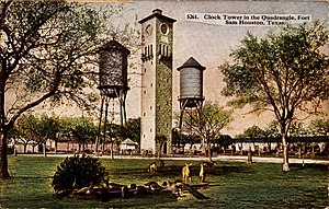 Fort Sam Houston - Illustration from a postcard of the Quadrangle at Fort Sam Houston