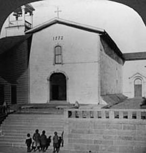 Mission San Luis Obispo de Tolosa - Mission San Luis Obispo de Tolosa as it looked circa 1900. Note that the wooden belfry has been removed and the chapel façade has been modified substantially in the recent photo below.