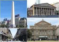 Dekstrume de pinto: la Obelisco, la Metropolitena Katedralo, Diagonal Norte kaj la Kojlo-Teatro.