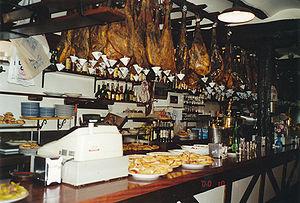 Tapas - Tapas (pintxos) and Jamón serrano in a San Sebastián's bar