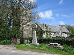 Sancreed church and war memorial cornwall