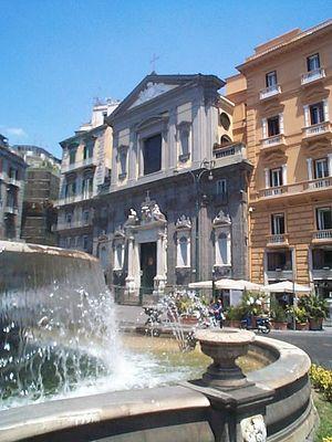 San Ferdinando (Naples) - Church of San Ferdinando in Naples with Fontana del Carciofo in foreground Piazza di Trieste e Trento.