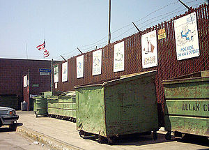 Recycling in the United States - A collection center for recyclables in Santa Monica, California, USA