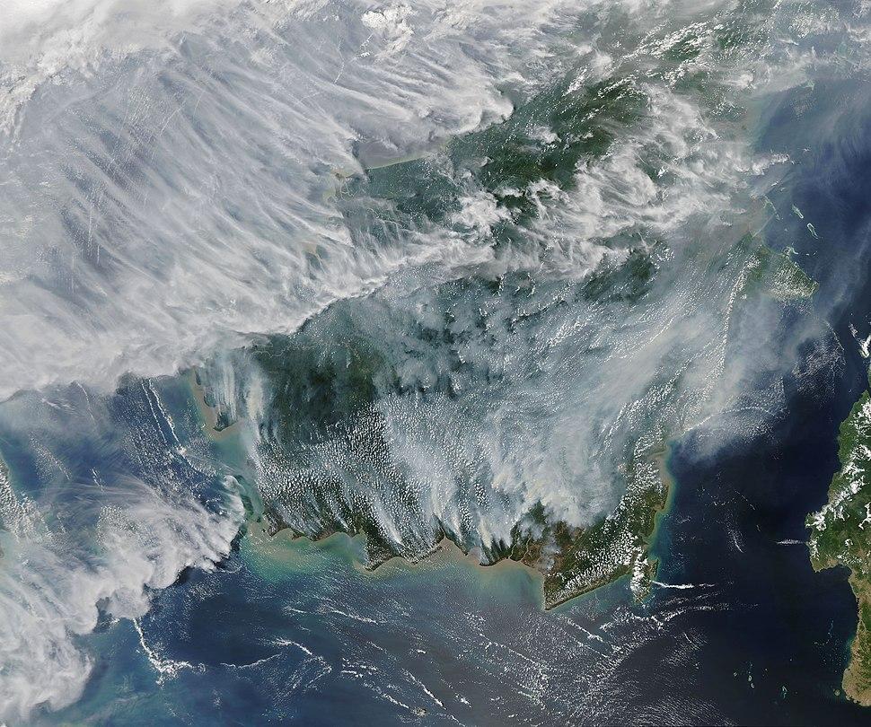 Satellite image of 2019 Southeast Asian haze in Borneo - 20190915