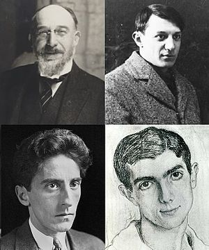La statue retrouvée - The creators of La statue retrouvée (clockwise from top left): Erik Satie, Pablo Picasso, Léonide Massine, Jean Cocteau