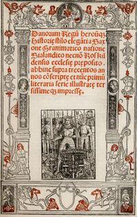 Forsiden på Christiern Pedersens Danorum Regum heroumque Historia udgivet i Paris i 1514