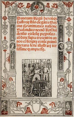 Gesta Danorum - Front page of Christiern Pedersen's Saxo version, Paris 1514.