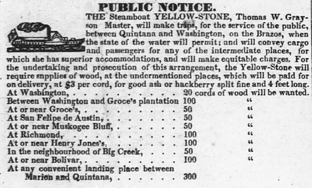 An advertisement for the steamboat Yellow Stone, December 1836. Packet service between Quintana and Washington, Republic of Texas. Sb yellowstone dec36.png