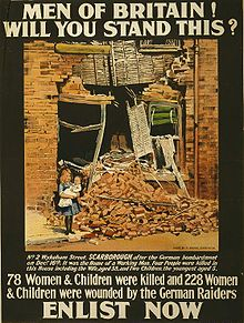 "Picture of girl holding infant in front of bombed out building. Caption reads ""MEN OF BRITAIN !"", ""WILL YOU STAND THIS ?"", ""78 Women & Children were killed and 228 Women & Children were wounded by the German Raiders"", ""ENLIST NOW""."