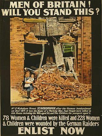 1914 in the United Kingdom - Raid on Scarborough used as a propaganda poster