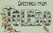 "A postcard with ""Greetings From Toledo"" where the letters of the words contain images of the city"