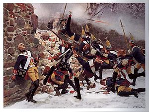 Prussian grenadiers charging at a broken wall of a church cemetery