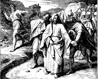 Harassment - Shimei curses David, 1860 woodcut by Julius Schnorr von Karolsfeld