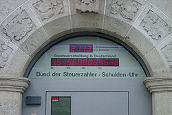 Photo of the German national debt clock at the Berlin headquarters of taxpayer watchdog group Bund der Steuerzahler