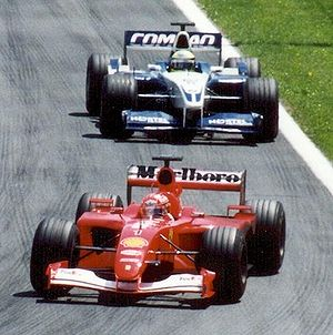 2001 Canadian Grand Prix - Michael Schumacher leads brother Ralf during the first part of the race.