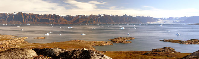 View of Kangertittivaq in eastern Greenland, one of the largest sund-fjord systems in the world Scoresby-sund view hg.jpg
