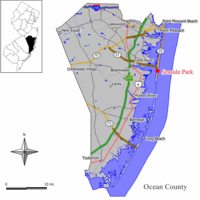 Map of Seaside Park in Ocean County. Inset: Location of Ocean County highlighted in the State of New Jersey.