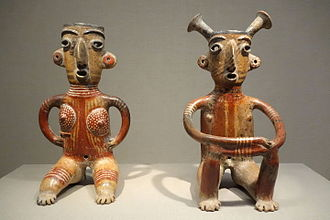 Zacatecas - Earthenware and pigment female and male figurines, 2nd century AD
