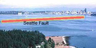 Seattle Fault - The Seattle Fault cuts across Puget Sound and into Seattle itself.  Restoration Point in the foreground, Alki Point is barely seen at the right edge of the picture.