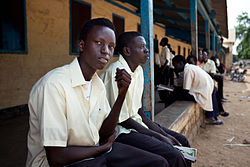 Secondary school Sudanese students during a break at Supiri Secondary School in Juba, South Sudan. The school is mix boys and girls.jpg