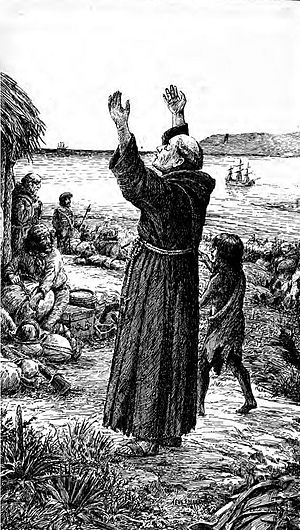 Junípero Serra - March 19, 1770: Serra rejoices at the sight of the supply ship San Antonio on the horizon beyond San Diego Bay. The San Carlos rests at anchor offshore.