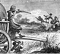 Seven Years in South Africa, page 402, Boer's wife defending her waggon against Kaffirs.jpg