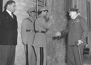 Iran–United Kingdom relations - The Shah of Iran saluting Winston Churchill on the occasion of Churchill's 69th birthday at the close of the Tripartite Conference of Tehran November 1943. On the far left is Ali Soheili, serving his second term as Prime Minister of Iran.