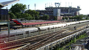 Mets–Willets Point (LIRR station) - The station, during the 2007 U.S. Open.