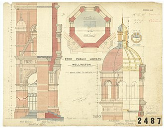 Wellington City Libraries - Sheet 5 in the plans for the original library, drawings circa 1891 See; https://wellington.govt.nz/your-council/archives/search-the-archives for a copy of these plans or more information about the building.