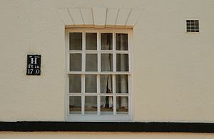 Old Queen's Head - 19th-century sash window on the north side of the building