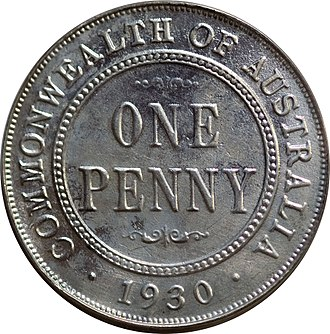 Penny - Image: Silver 1930 Australia penny