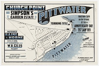 Church Point, New South Wales - Image: Simpson's Garden Estate Church Point Pittwater Baroona Rd, Bay View Rd, Eastview Road, 1921